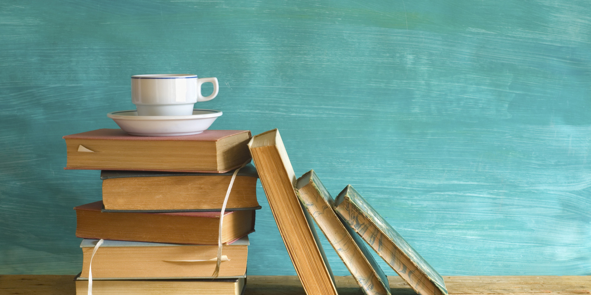 vintage books and a cup of coffee